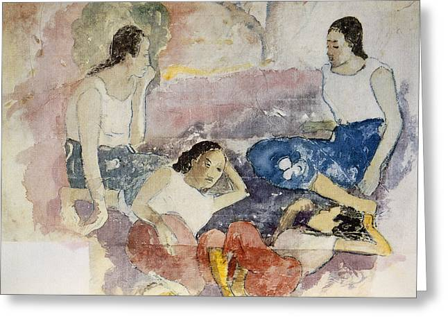 Conversations Drawings Greeting Cards - Tahitian Women, From Noa Noa, Voyage Greeting Card by Paul Gauguin