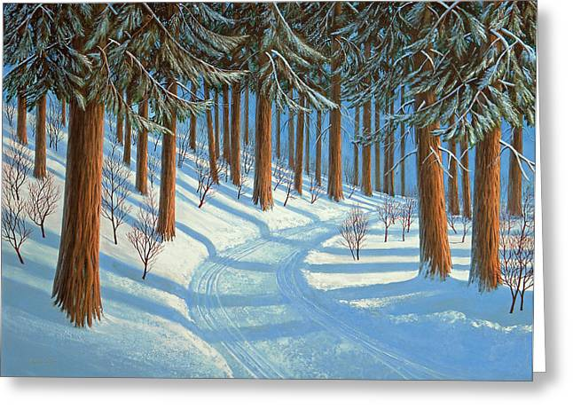 Snowscape Paintings Greeting Cards - Tahoe Forest In Winter Greeting Card by Frank Wilson