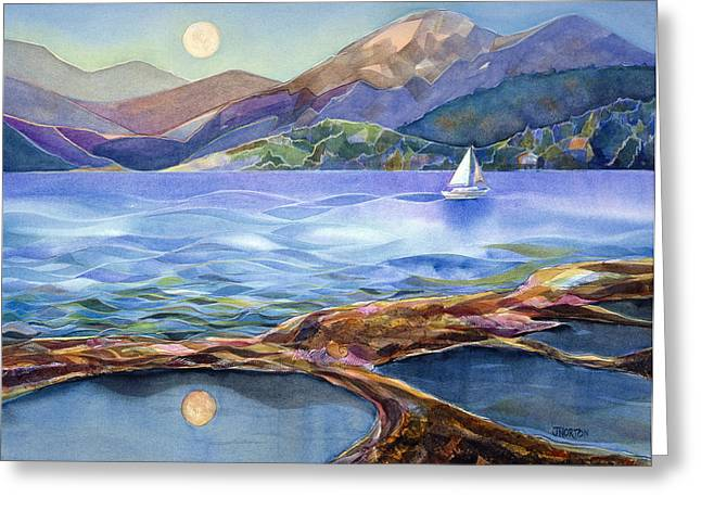 Sailboat Paintings Greeting Cards - Tahoe Tides Greeting Card by Jen Norton