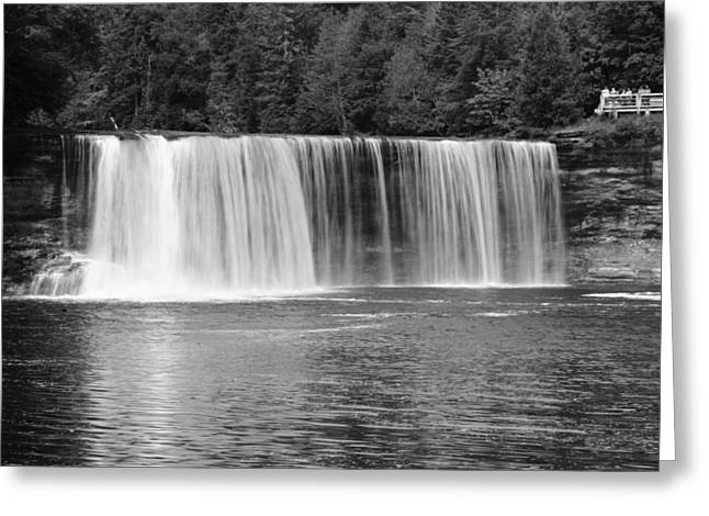 The Great Lakes Greeting Cards - Tahquamenon Falls In Black And White Greeting Card by Dan Sproul