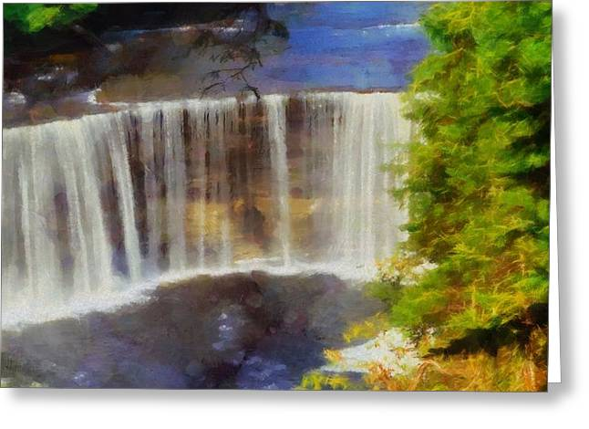 Strength Paintings Greeting Cards - Tahquamenon Falls Painting Greeting Card by Dan Sproul