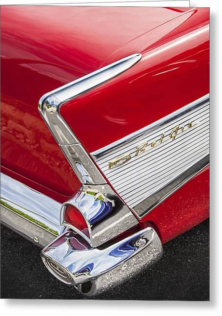 Car Racer Greeting Cards - Tail Fins Are In 1957 Chevy Greeting Card by Rich Franco