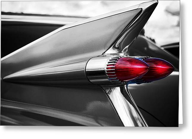 Shades Of Red Greeting Cards - Tail Fins Caddy Greeting Card by Rick Hale