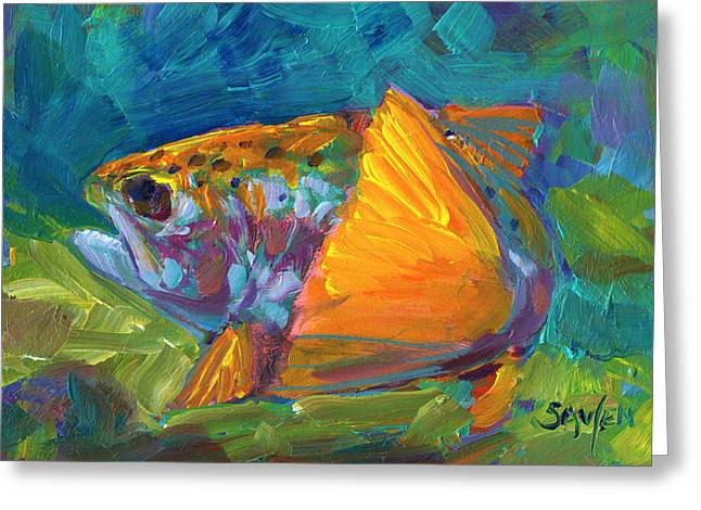 Famous Artist Greeting Cards - Tail View Trout Greeting Card by Mike Savlen