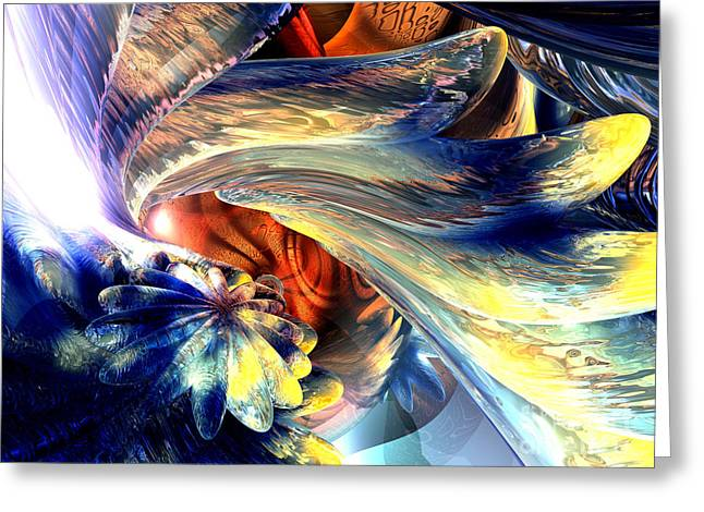 Warp Greeting Cards - Tailed Beast Abstract Greeting Card by Alexander Butler