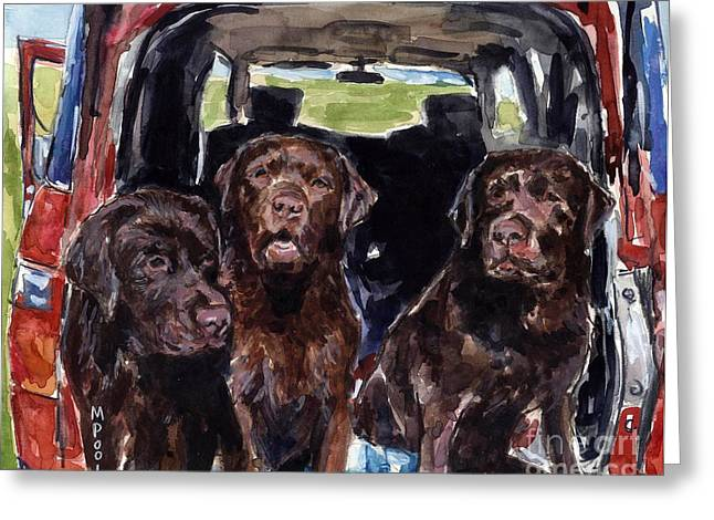 Chocolate Lab Greeting Cards - Tailgaters Greeting Card by Molly Poole