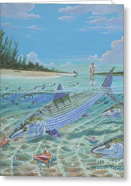 Bonefish Greeting Cards - Tailing Bonefish In003 Greeting Card by Carey Chen