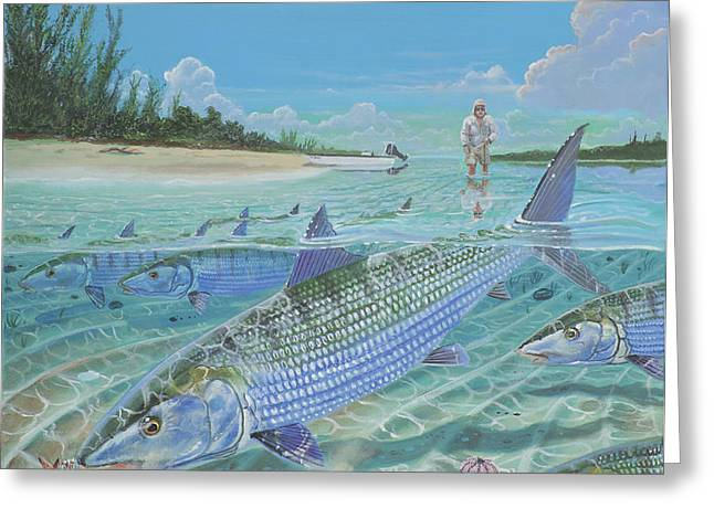 Tailing Bonefish In003 Greeting Card by Carey Chen