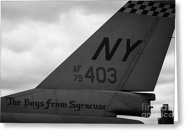 Manhaten Greeting Cards - tailplane of General Dynamics F16 fighting falcon the boys from syracuse new york Greeting Card by Joe Fox