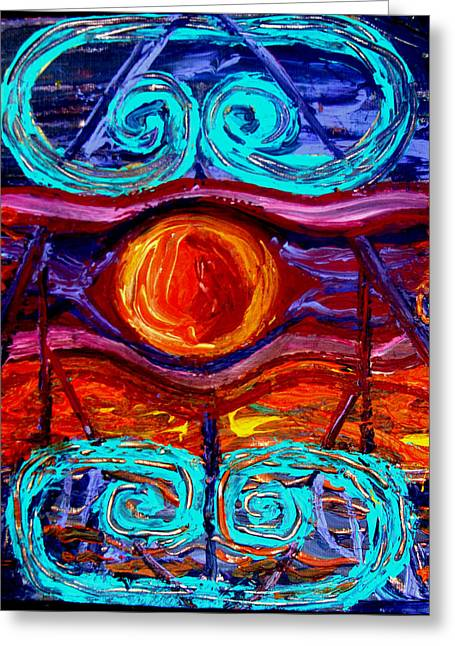 Abstract Nature Greeting Cards - Taino Greeting Card by Georgette Drake