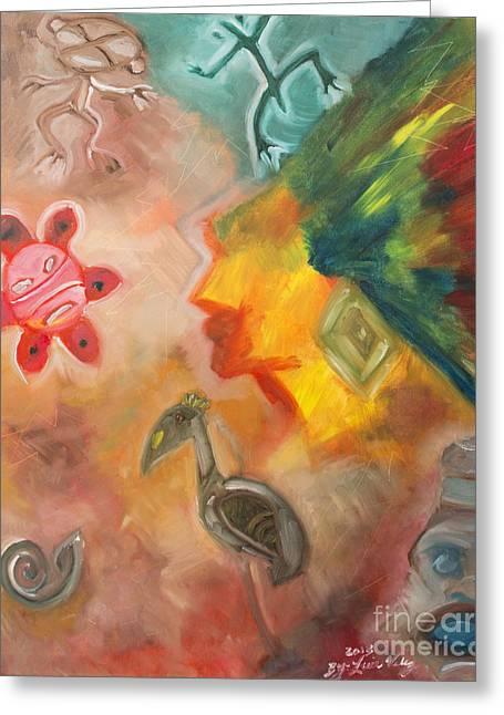 Taino Greeting Cards - Taino Symbol Greeting Card by Luis Velez
