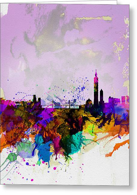 Chinese Landscape Greeting Cards - Taipei Watercolor Skyline Greeting Card by Naxart Studio