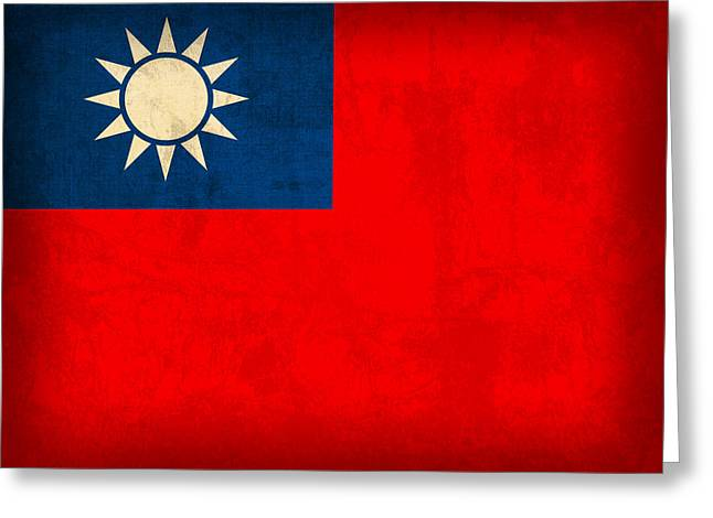 National Mixed Media Greeting Cards - Taiwan Flag Vintage Distressed Finish Greeting Card by Design Turnpike