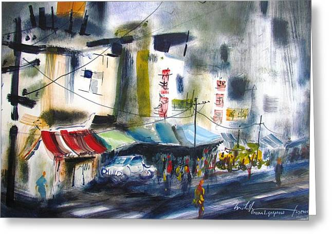 Purple Awnings Greeting Cards - Taiwan Street Greeting Card by Marc L Gagnon