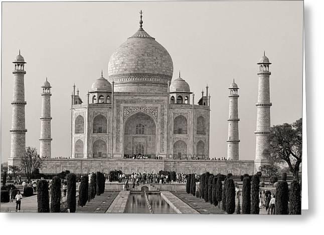 Refection Greeting Cards - Taj Maha BW Greeting Card by Linda Phelps