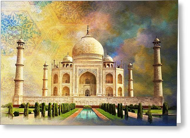 National Paintings Greeting Cards - Taj Mahal Greeting Card by Catf