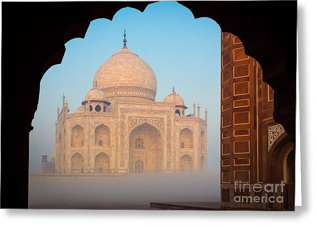 Dome Greeting Cards - Taj Mahal Dawn Greeting Card by Inge Johnsson