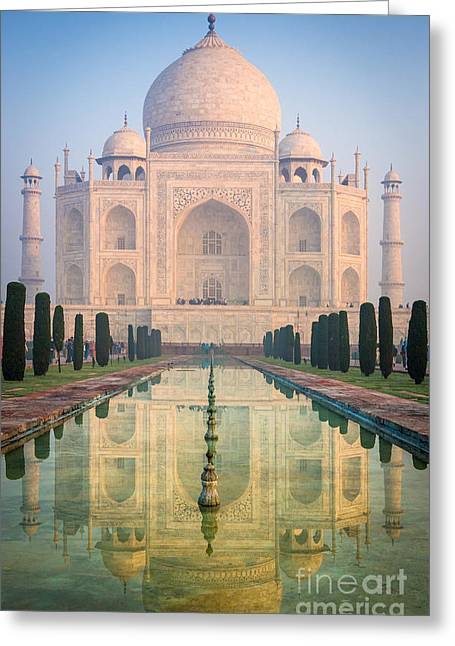 Mausoleum Greeting Cards - Taj Mahal Dawn Reflection Greeting Card by Inge Johnsson