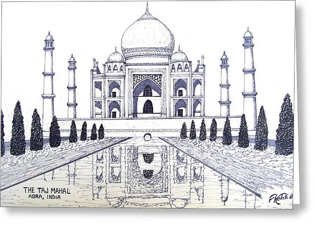 Architecture Art Greeting Cards - Taj Mahal Greeting Card by Frederic Kohli