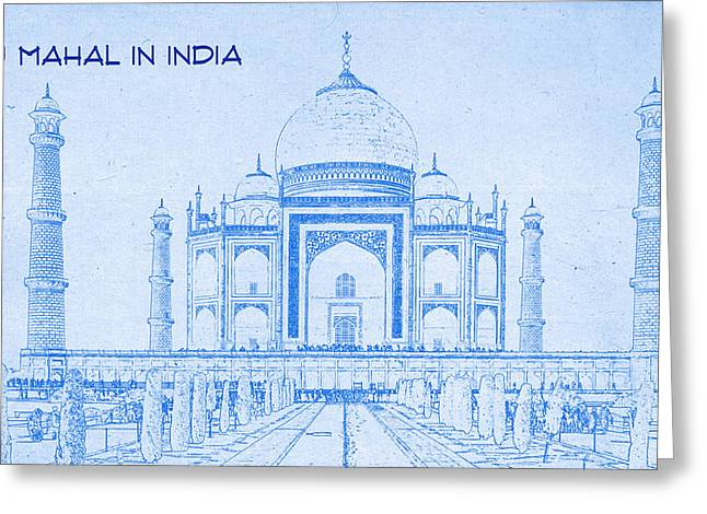 White River Mixed Media Greeting Cards - Taj Mahal in India - BluePrint Drawing Greeting Card by MotionAge Designs