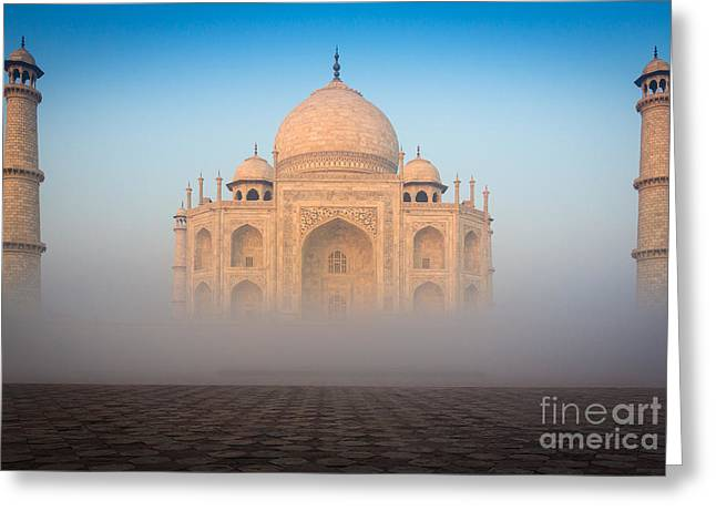 Mausoleum Greeting Cards - Taj Mahal in the Mist Greeting Card by Inge Johnsson