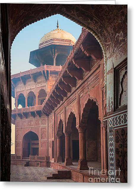 Dome Greeting Cards - Taj Mahal Jawab Greeting Card by Inge Johnsson