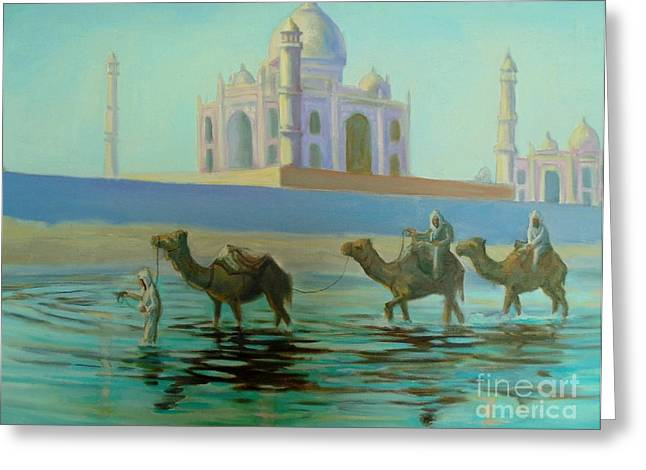 Reflections In River Greeting Cards - Taj Mahal Greeting Card by John Malone