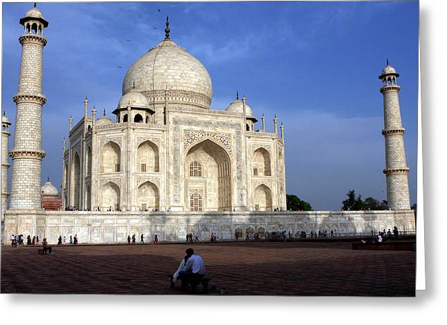 White Marble Greeting Cards - Taj Mahal Love Greeting Card by Aidan Moran