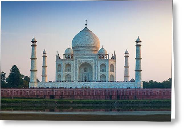 Mausoleum Greeting Cards - Taj Mahal Panorama Greeting Card by Inge Johnsson