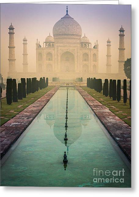 Dome Greeting Cards - Taj Mahal Predawn Greeting Card by Inge Johnsson