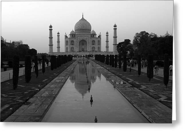 White Marble Greeting Cards - Taj Mahal Reflection Greeting Card by Aidan Moran