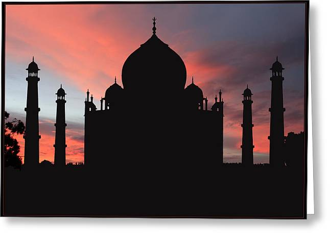 Taj Mahal Silhouette Greeting Card by Kim Andelkovic