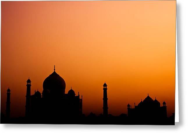Newsom Greeting Cards - Taj Mahal Silhouette Greeting Card by Nila Newsom