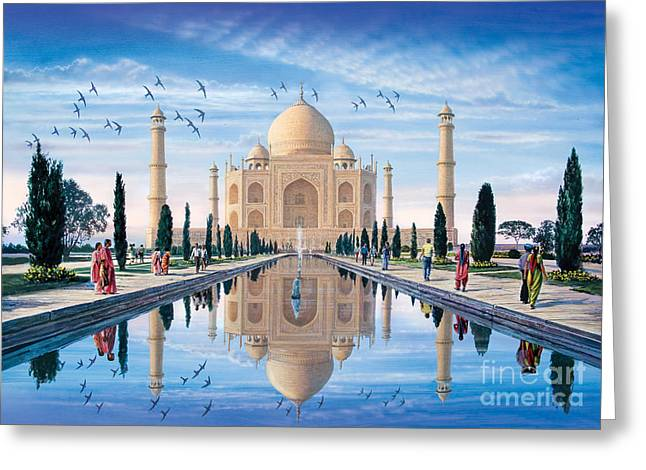 Mausoleum Greeting Cards - Taj Mahal Greeting Card by Steve Crisp