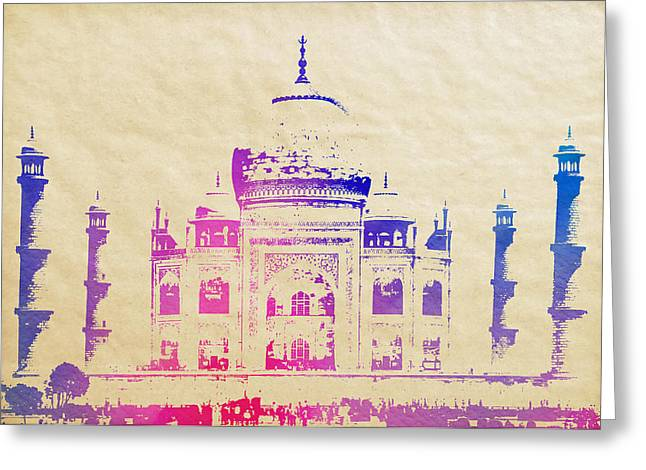Domes Mixed Media Greeting Cards - TAJ MAHAL WATERCOLOR on AGED PARCHMENT Greeting Card by Daniel Hagerman