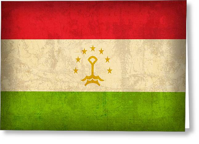 National Mixed Media Greeting Cards - Tajikistan Flag Vintage Distressed Finish Greeting Card by Design Turnpike