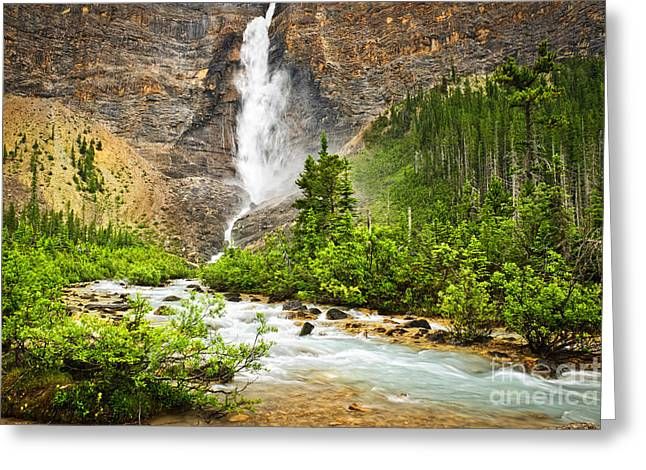 Magnificent Landscape Greeting Cards - Takakkaw Falls waterfall in Yoho National Park Canada Greeting Card by Elena Elisseeva