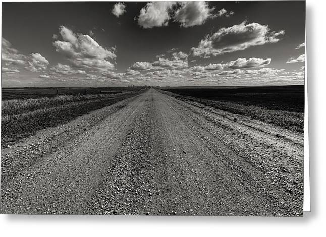 Nowhere Greeting Cards - Take A Back Road BnW version Greeting Card by Aaron J Groen
