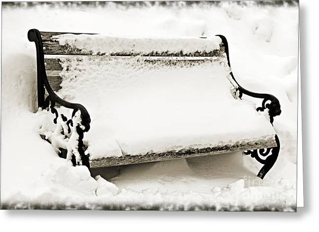 Take A Seat  And Chill Out - Park Bench - Winter - Snow Storm BW 2 Greeting Card by Andee Design