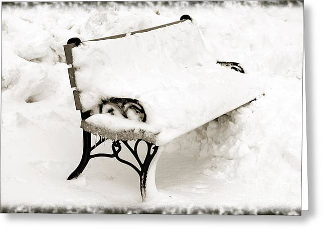 Frosty Mixed Media Greeting Cards - Take A Seat  And Chill Out - Park Bench - Winter - Snow Storm BW Greeting Card by Andee Design