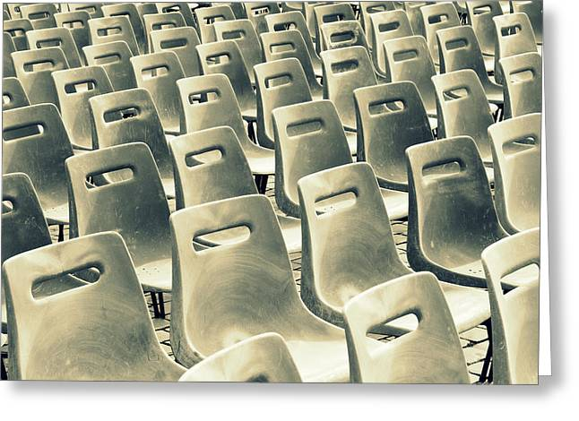 Empty Chairs Greeting Cards - Take a Seat Greeting Card by Chevy Fleet