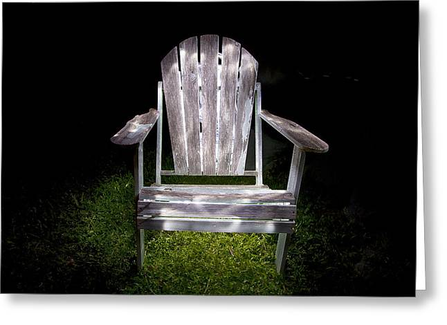 Lawn Chair Greeting Cards - Adirondack Chair Painted with Light Greeting Card by Greg Kopriva