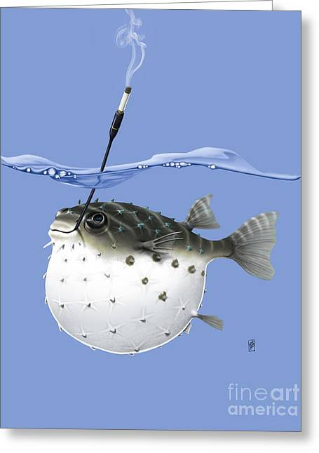 Puffer Greeting Cards - Take It Outside Colour Greeting Card by Rob Snow