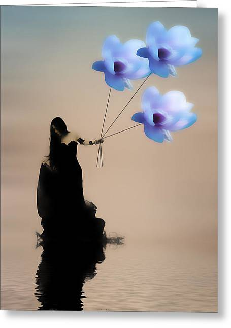 Surrealism Mixed Media Greeting Cards - Take me away Greeting Card by Sharon Lisa Clarke