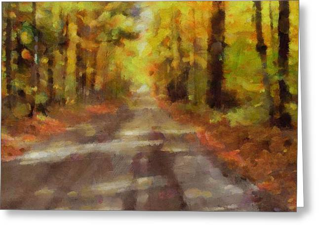 Country Dirt Roads Mixed Media Greeting Cards - Take Me Home Country Roads Greeting Card by Dan Sproul