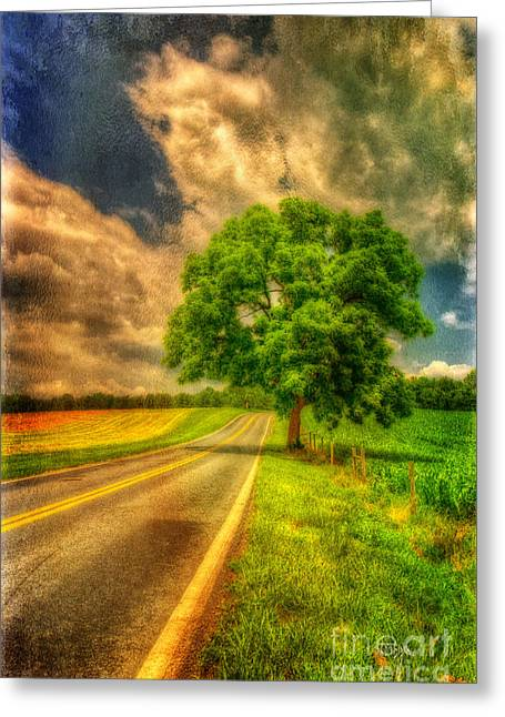 Country Lanes Digital Art Greeting Cards - Take Me Home Greeting Card by Lois Bryan