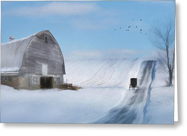 Wintery Barn Greeting Cards - Take Me Home Greeting Card by Lori Deiter