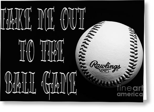 Take Me Out To The Ball Game - Baseball Season - Sports - B W 2 Greeting Card by Andee Design