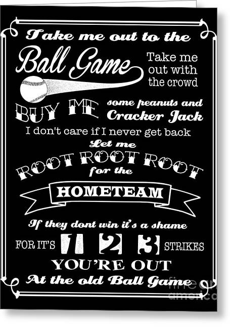Take-out Digital Art Greeting Cards - Take Me Out To The Ball Game - Black Background Greeting Card by Ginny Gaura