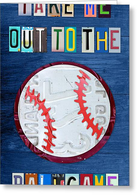 Highway Greeting Cards - Take Me Out to the Ballgame License Plate Art Lettering Vintage Recycled Sign Greeting Card by Design Turnpike